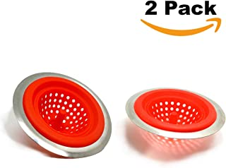 2PCS Kitchen Sink Strainer Basket Bathroom Stopper Drain Filter Clog Silicone And Stainless Steel Red