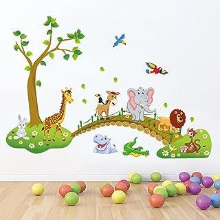 decalmile Sticker Muraux Animaux de la Jungle Autocollant Mural Arbre Lion Girafe Éléphant Chambre Enfants Bébé Salon Déco...