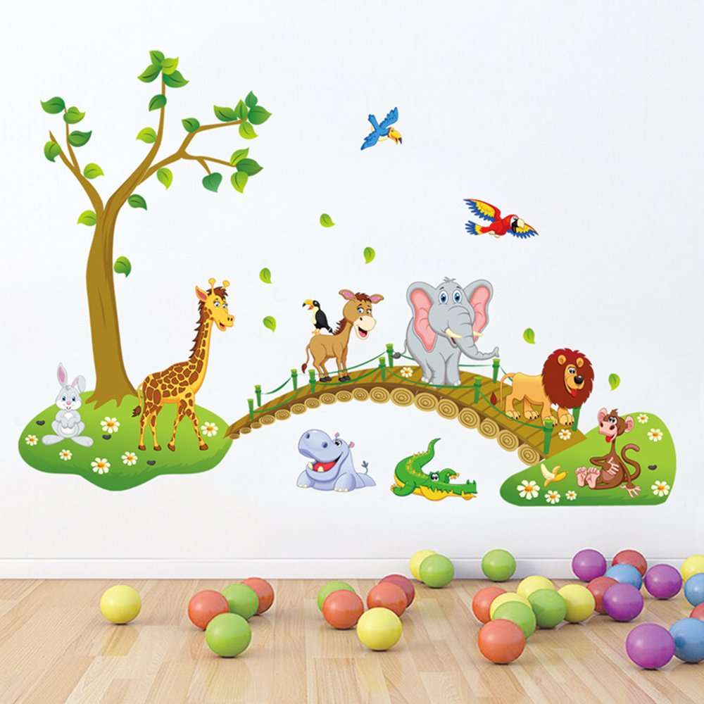 baby walls decorations amazon comdecalmile jungle animals tree wall stickers lion giraffe elephant walking on bridge wall decals kids room