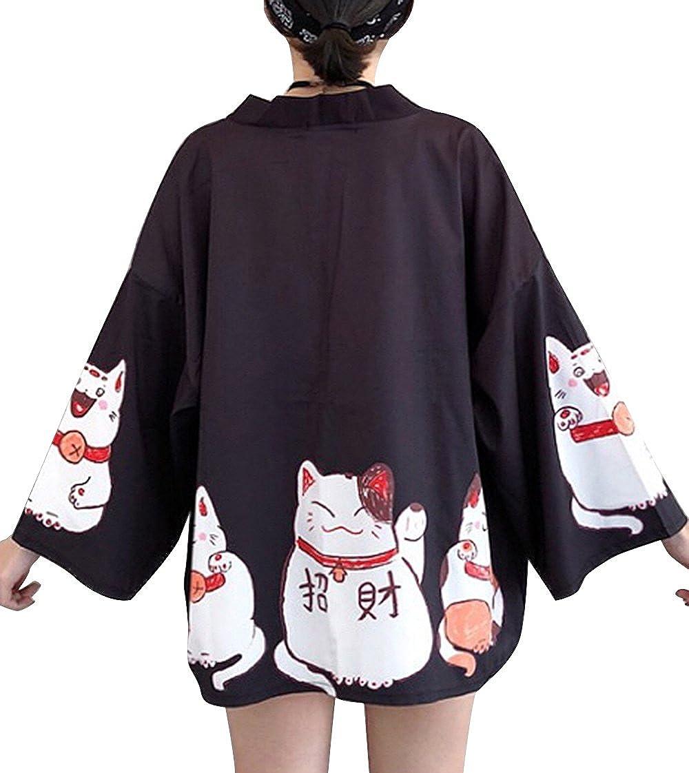 Women's 3/4 Sleeve Japanese Shawl Kimono Cardigan Tops Cover up OneSize US S-XL