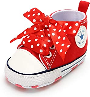 Infant Baby Girls Canvas High Tops Sneaker Toddler Anti-Skid Soft Sole First Walking Tennis Dress Shoes