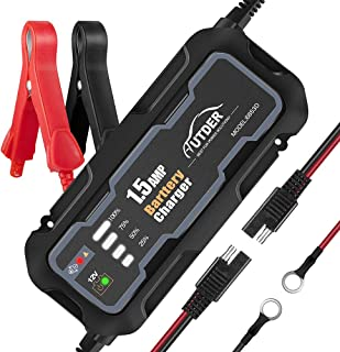 AUTDER 12V 1.5 A Smart Battery Charger with Alligator Clip and Ring Connector Portable Automatic Battery Charger Maintainer for Car Motorcycle Lawn Mower Toy Cars