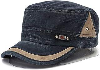 b5b5154b Liann Baseball Cap - Military Cap - Washed Vintage Army Hat - Plain Flat  Cadet Hat