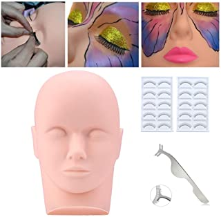 Practice Training Head, Beauty Star Makeup Cosmetology Mannequin Head Doll Eyelashes Extension Face Makeup Massage Practice with 10 Pairs Practice Lashes, Stainless Steel Straight Pointed