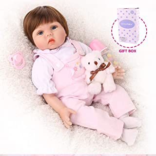 CHAREX Silicone Reborn Baby Dolls, 22 inch Handmade Realistic Baby Doll for Girls, Soft Vinyl Lifelike Weighted Doll Toys with Bear Set, Gifts/Toys for Kids Age 3+, EN71 and ASTM F96
