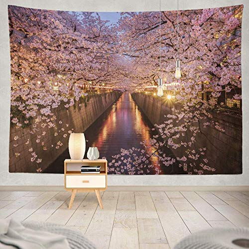 WAXB Tapiz Flores De Cerezo Tapiz Decorativo De Río Flores De Cerezo Túnel De Primavera De Sakura Árbol De Viaje Natural Decoración De Dormitorio 70.8 X 90.5 Pulgadas (180 X 230 Cm)