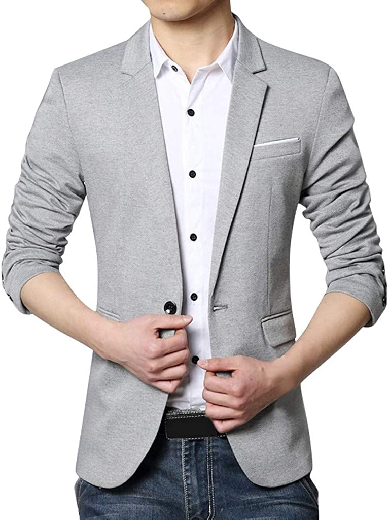 Mens Blazers and Sport Coats Regular Fit Casual Solid Lightweight One Button Suit Jacket Coats Business Lapel Suit
