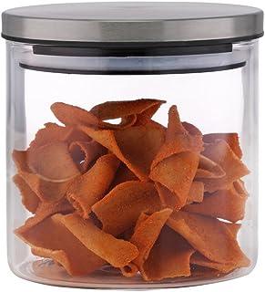 Borosil Classic Wide Glass Jar with Lid, 900ml, Transparent