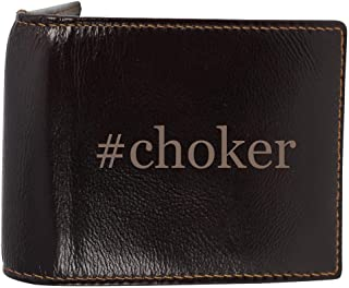 #choker - Genuine Engraved Hashtag Soft Cowhide Bifold Leather Wallet