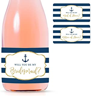 Andaz Press Mini Champagne Wine Bottle Proposal Labels, Will You Be My Bridesmaid? Matron Maid of Honor?, Nautical Navy Blue Stripes Faux Gold Glitter, 20-Pack, Favor Gift Labels Bride Asking Friends