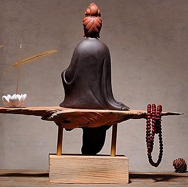 HYBAUDP Statues Figurines Kuan Yin Statue Figurine Buddha Water and Moon Guan Yin Sculpture Ornament Peace Prosperity Goddess