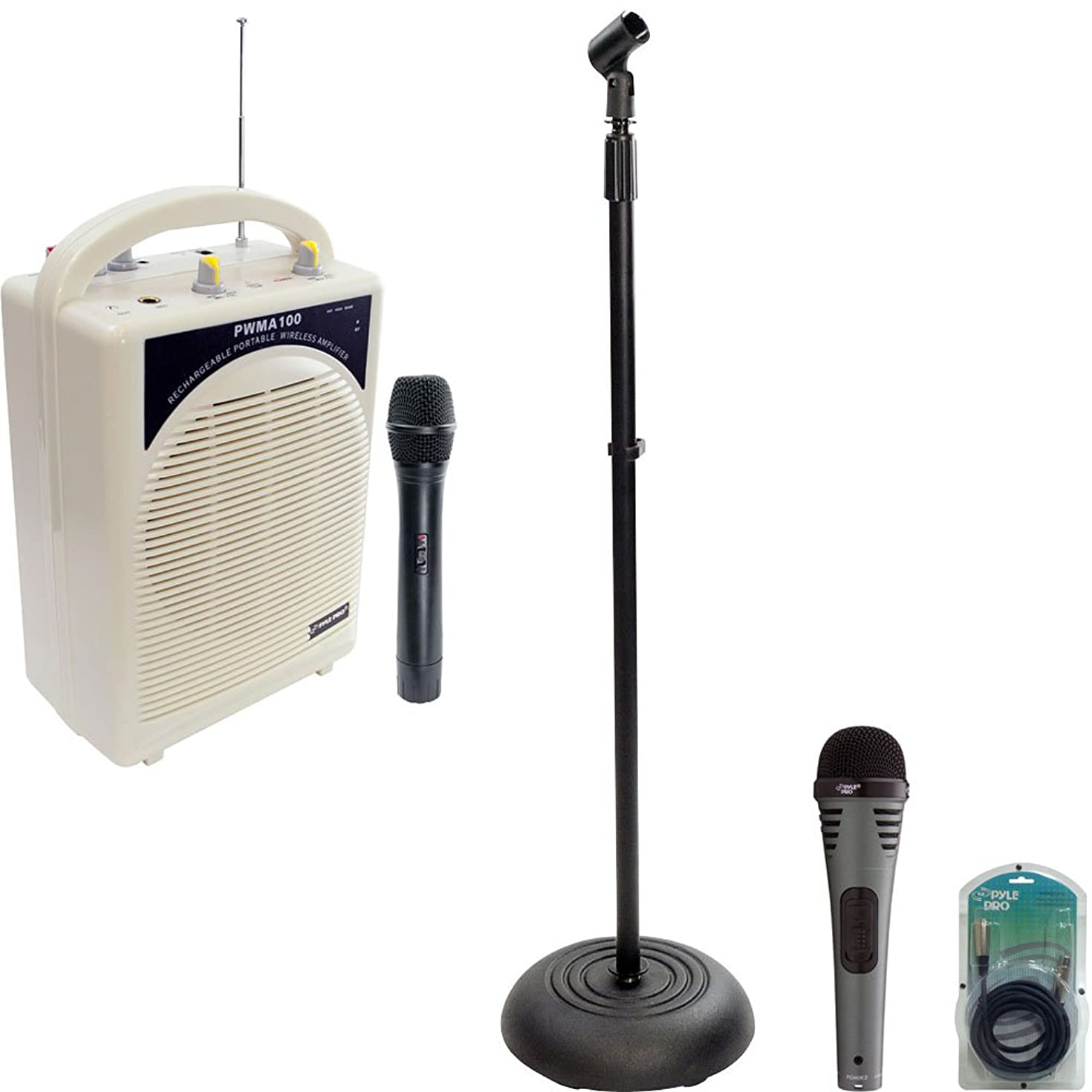 Pyle Speaker, Mic, Cable and Stand Package - PWMA100 Rechargeable Portable PA System with Wireless MIC - PDMIK2 Professional Moving Coil Dynamic Handheld Microphone - PMKS5 Compact Base Black Microphone Stand - PPFMXLR15 15ft. XLR Male to XLR Female Microphone Cable