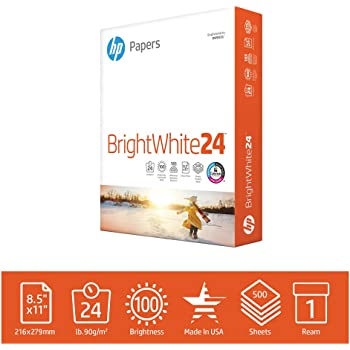 HP Printer Paper 8.5x11 BrightWhite 24 lb 1 Ream 500 Sheets 100 Bright Made in USA FSC Certified Copy Paper HP Compatible 203000R