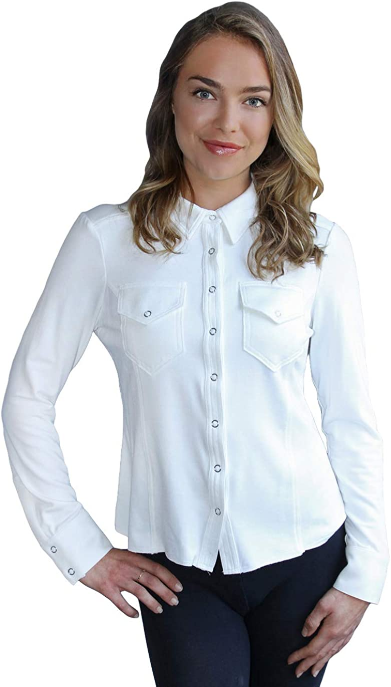 Button Down Suede Top | Long Sleeve Embossed Ultra Suede Shirt Blouse