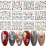 YZDKJ 12pcs Christmas Nail Stickers Santa Claus Elk Snowman Transferencia de Agua Deslizadores para Nails Dibujos Animados Invierno Año Nuevo Manicura (Color : BN1009-1020)