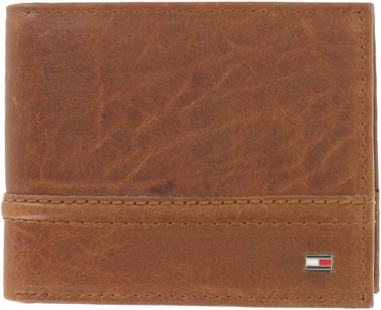 Tommy Hilfiger Mens Brown Distressed RFID Blocking Bi-Fold Wallet