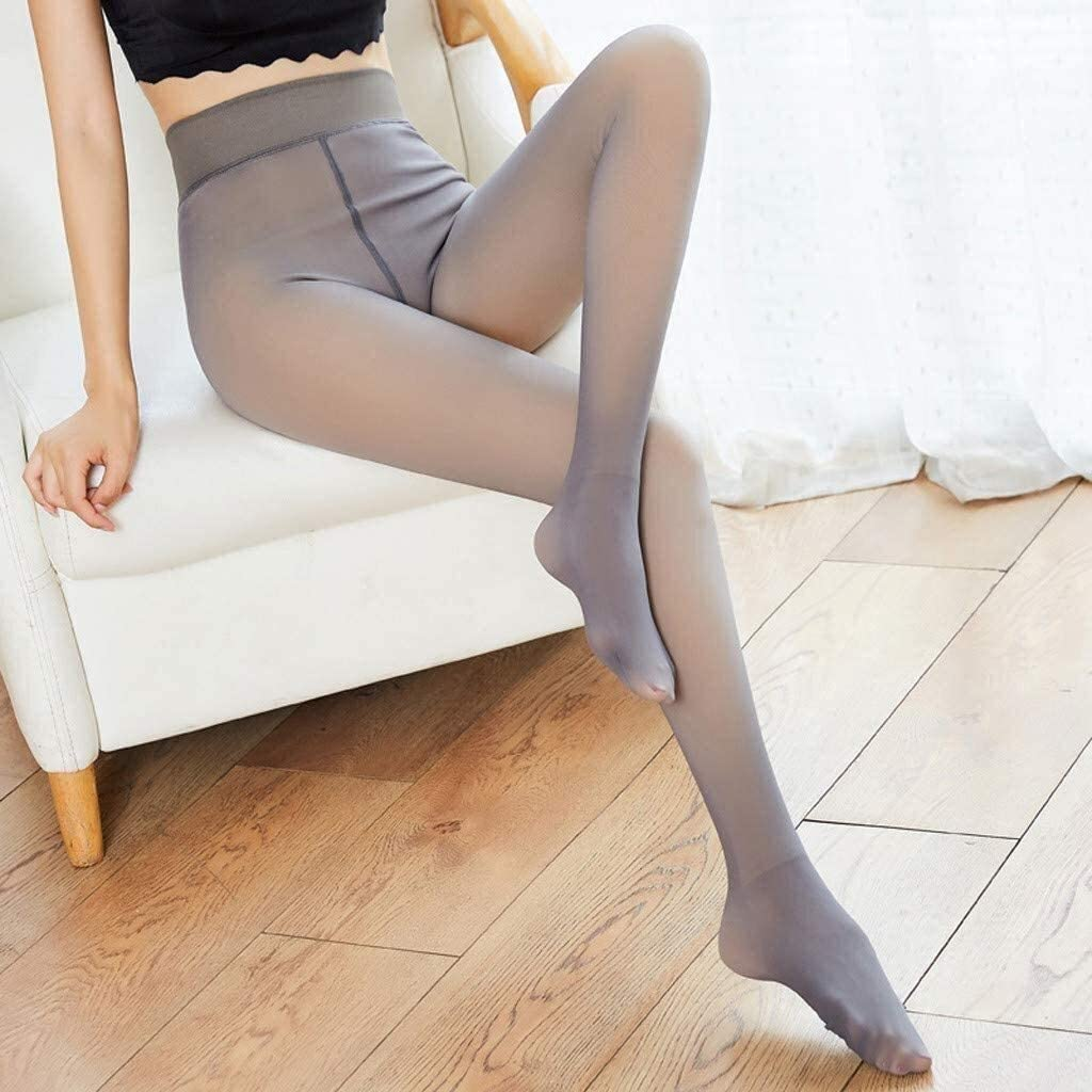 PoJu Fake Translucent Fleece Tights Thermal Tights for Women, Perfect Legs Fake Translucent Pantyhose, Women Winter Suspender Stockings Shapewear Pants (90g / 220g / 320g) (Color : Gray, Size : 230g)