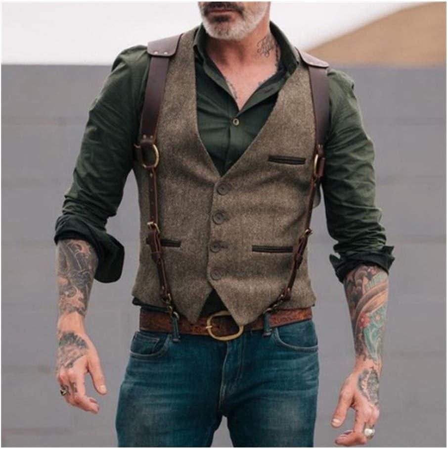5 ☆ very popular QWERBAM Men's Suit Vest Wool Tweed Male Cotton Slim Fit Leisure Time sale