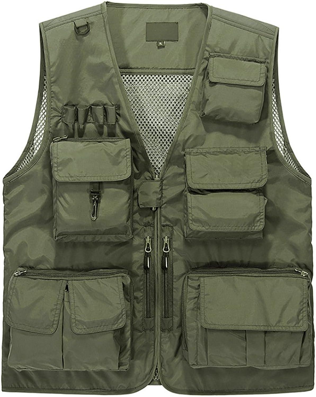 (Asia L US S, Green) - Lamdgbway Outdoor Multi-Pocketed Fishing Vest Sleeveless Mesh Quick-Dry Waistcoat Jacket