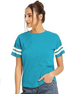 Ytrick Women's Blue Cotton Tshirt
