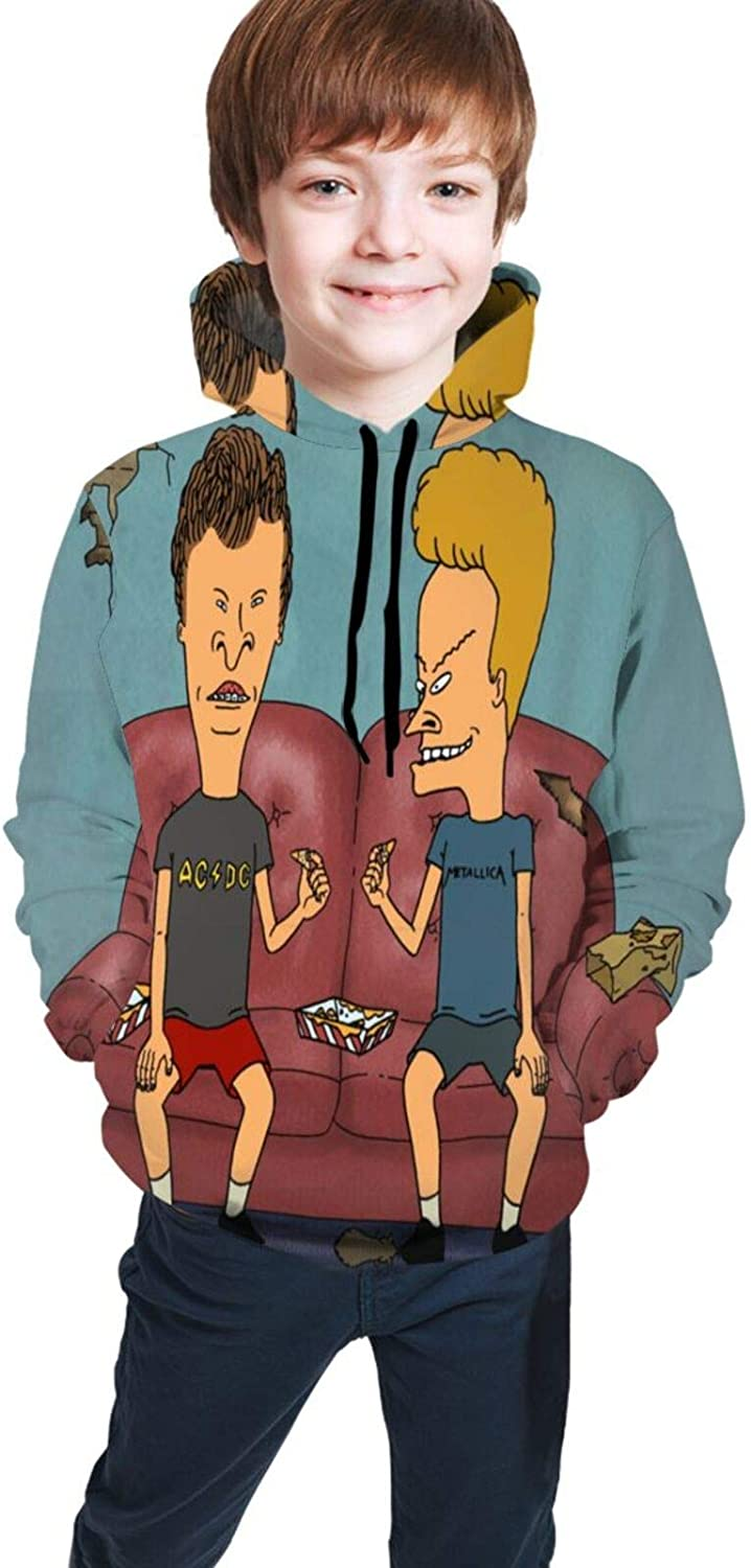 Beavis and Butt-Head Youth Boys Girls 3D Print Pullover Hoodies Hooded Seatshirts Sweaters 10-12 Years Black