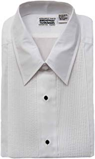 "Women's White Tuxedo Shirt with Wing Collar and 1/8"" Pleats"