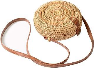 Betterbelt Handwoven Round Rattan Bag Shoulder Leather Straps Natural Chic Hand