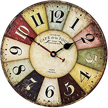 Rustic Wall Clock, Farmhouse Style Vintage Clock with Colorful Arabic Numerals, Silent Non-Ticking Battery Operated Decor Clock for Living Room, Bedroom, Office, Kitchen & Coffee (14 Inch, Paris)