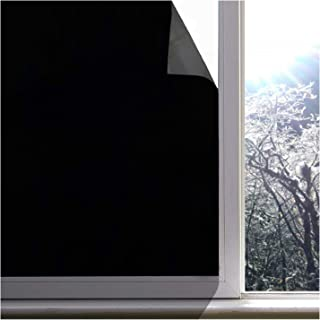 Jahoot Blackout Window Film, Upgraded 100% Light Blocking Glass Tint Static Cling Window Cover for Privacy, Stop UV, Nap Time, Room Darkening & Day Sleeping (Matte Black, 17.7 x 98.4 in.)