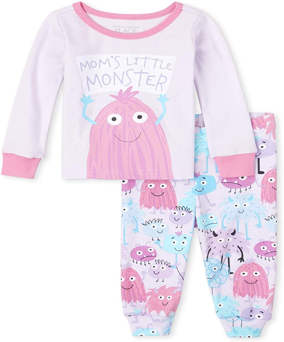 The Children's Place Girls' Baby and Toddler Monster Snug Fit Cotton Pajamas