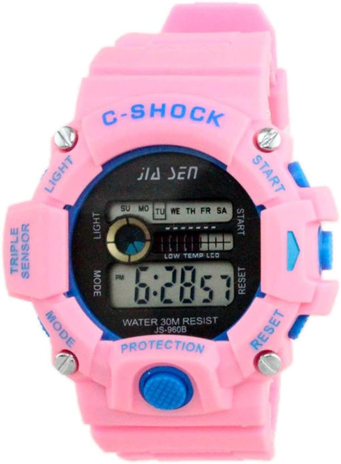 XM The new unisex luminous waterproof outdoor sports electronic timing watch(Yellow Pink blueee Purple Red) , pink