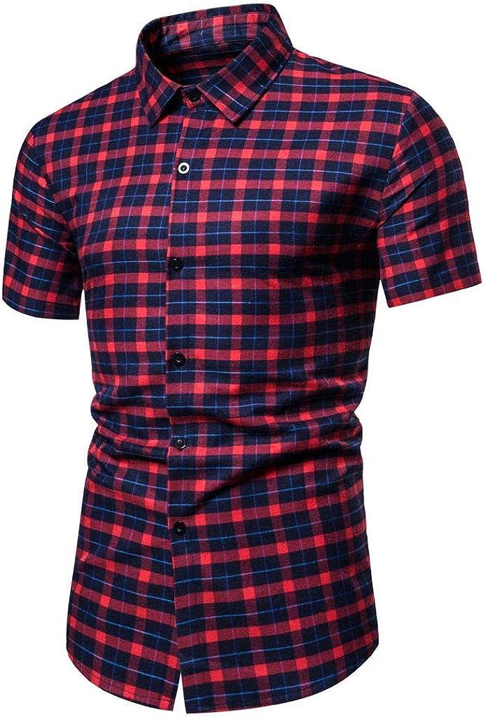 VEKDONE Mens Slim Fit Dress Shirt Basic Short Sleeve Checked Button Down Shirt Casual Plaid Poplin Business Shirts