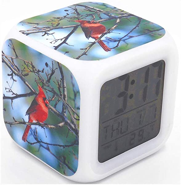 BoWay 3 Desk Shelf Clock Northern Cardinal Birds Digital Alarm Clock With Led Lights Red Table Clock For Kids Teenagers Adults Home Office Decor