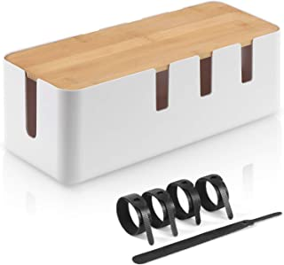 KALESUKI Cable Management Box, Desk Wire Organizer with Bamboo Lid and 5 Velcro Cable Ties, Power Strips Surge Protector Hide Wire for TV Computer Router Hub Under Desk Office Entertainment Center