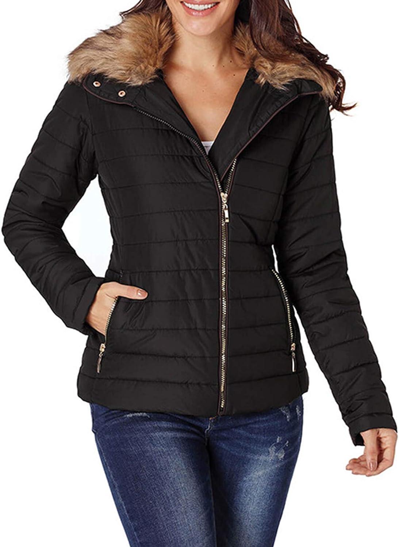 ZhaoZC Ladies' Casual Cotton Coat, Winter Faux Fur Collar Decorated Long-Sleeved Plus Size Women's Jacket,Black,L
