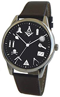 The Classic Masonic Emblem Black Dial Watch Has Black Leather Band