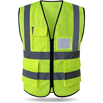 MOTORCYCLE SAFETY SECURITY WATER RESISTANT HI VIZ VEST WAISTCOAT 2 YELLOW POCKETS 2 POCKET YELLOW, S//M