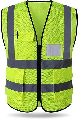 HYCOPROT Gilet De Sécurité Réfléchissant Haute Visibilité Vêtements Travail Directeur Exécutif Gilet Veste Zip Brace ...