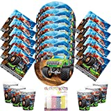 Monster Truck Rally Party Supplies Pack Serves 16 Dessert Plates Beverage Napkins and Cups with Birthday Candles - Monster Truck Birthday Supplies (Bundle for 16)