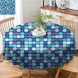 Mannwarehouse Aqua Elegance Engineered Tablecloth Mosaic Tiles Checkered Square Indoor Outdoor Camping Picnic D71