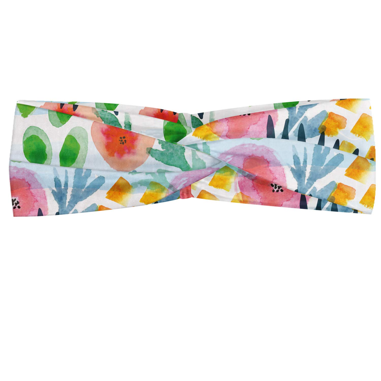 Ambesonne Floral Headband, Modern Brushstroke Flowers in Watercolor Painbrush Effects Baby Girls Playroom Paint, Elastic and Soft Women's Bandana for Sports and Everyday Use, Multicolor