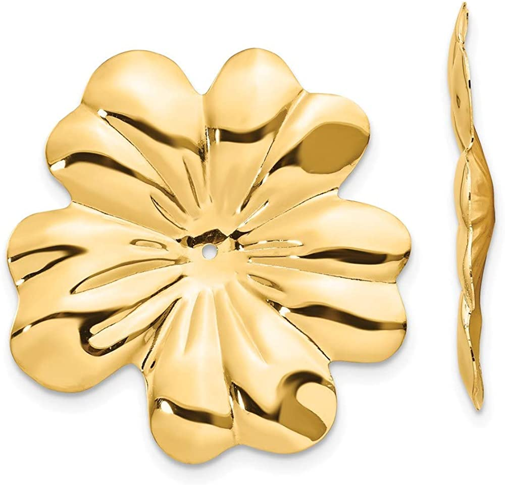 14k Polished Floral Earring Jackets 27mm 28mm style E892J