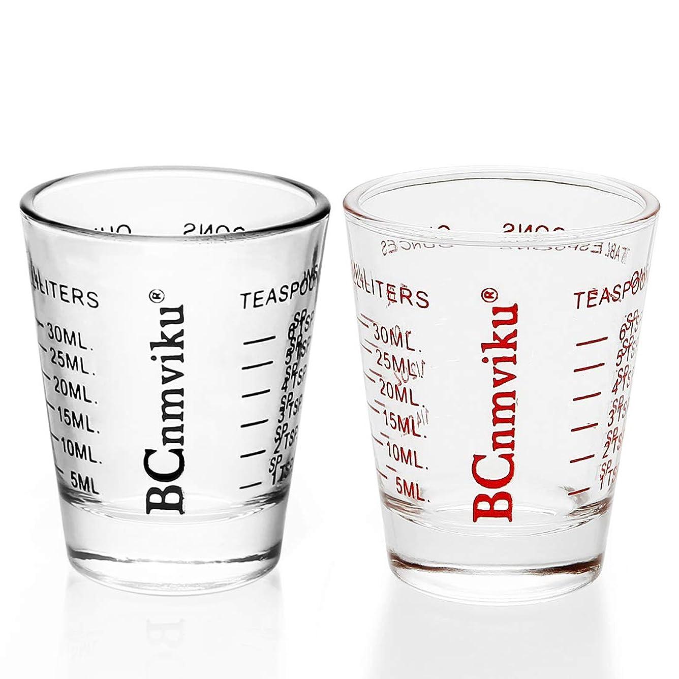 適合するセラー悪意のあるショットグラス エスプレッソ 1oz/30ml 計量カップ 目盛り付き 厚み強化 耐熱ガラス製 お酒グラス ワイングラス エスプレッソマシン 居酒屋 レストラン カフェ (ブラック,レッド)