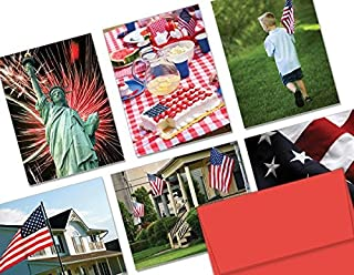 Patriotic Greeting Cards 36 Pack Assortment – Patriotism – 6 Unique American Designs – RED ENVELOPES INCLUDED – Glossy Cover Blank Inside – By Note Card Café