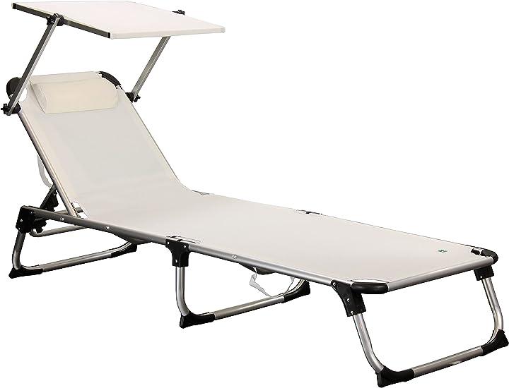Lettino mare piscina totò piccinni lettino kamp pieghevole leggero in alluminio con cuscino (bianco) B085S75MMJ