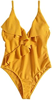 YSY-CY One Piece Swimsuit Women Bathing Suit Sexy Deep V Monokini Solid Ruffle Swimwear High Cut Swimming Suit Beachwear 2019 Suitable for beach, water sports (Color : Gold, Size : M)
