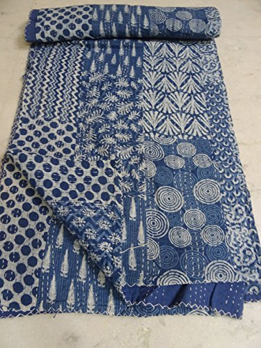 Édredon indien fait main de bloc, kantha indien de coton réversible gudri jetent la couverture de couverture de lit de coton vintage Literie Gudri, reine décorative à la maison taille actuelle Kantha courtepointes 90 x 108