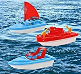 Toy Boat Bath Toys - Children's Toy Boat Combo 3 Pack | Kids Beach Toys Set of 3 Includes x1 Sail Boat, x1 Speed Boat, and x1 Tugboat | Toy Boat Combo for Swimming Pool, Beaches and Tubs