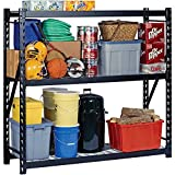 Heavy Duty Storage Rack with Wire Decking, Black, 77'W x 24'D x 72'H
