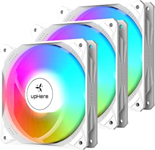 upHere Ventilateur PC 120mm Rainbow LED PWM Haute Performance pour Boîtier PC D'ordinateur Ultra Silencieux, 3 Pack(NT12CF4)